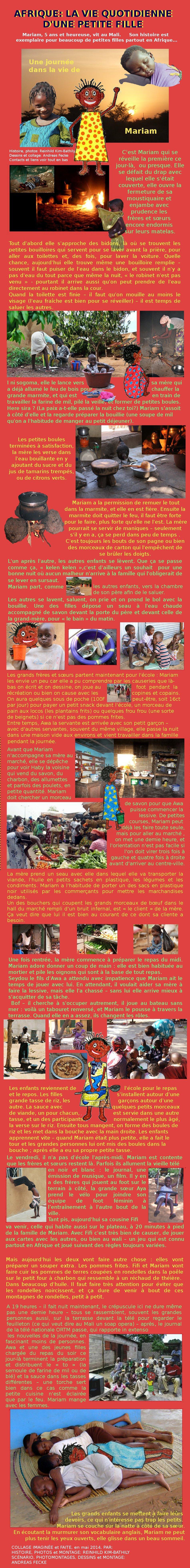 AFRIQUE, ENFANTS:  Conte d'une journée d'une petite fille