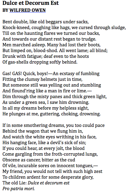 dulce et decorum est wilfred For the 100th anniversary of the battle of the somme, nathan gelgud illustrates the vivid anti-wwi poem by wilfred owen, dulce et decorum est.