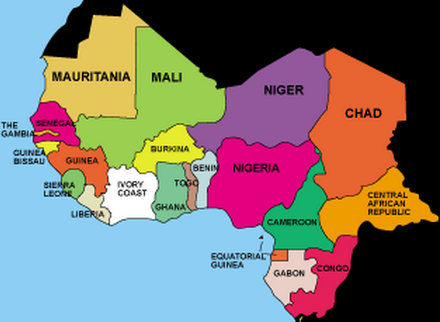 West Africa Countries and Capitals Map
