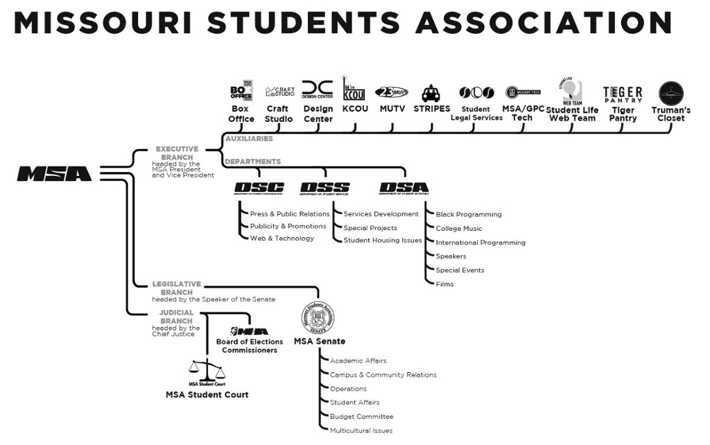 A map of all the MSA branches, departments, and auxilaries.