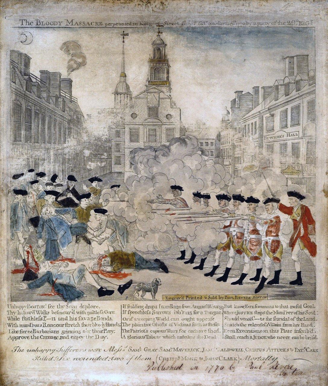 Learn about Paul Revere's Most Famous Print; Boston Massacre.
