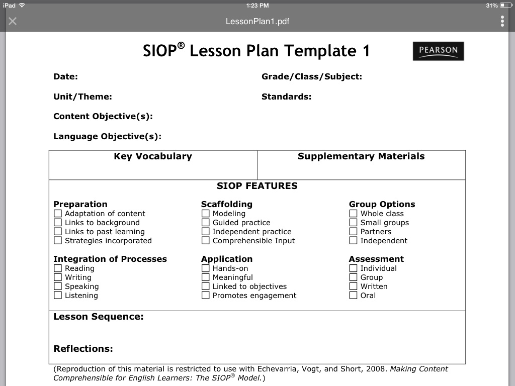 siop model lesson plan Siop® lesson plan  supplementary materials: (lesson preparation) content  vocabulary  modeling x whole class links to background x guided practice.