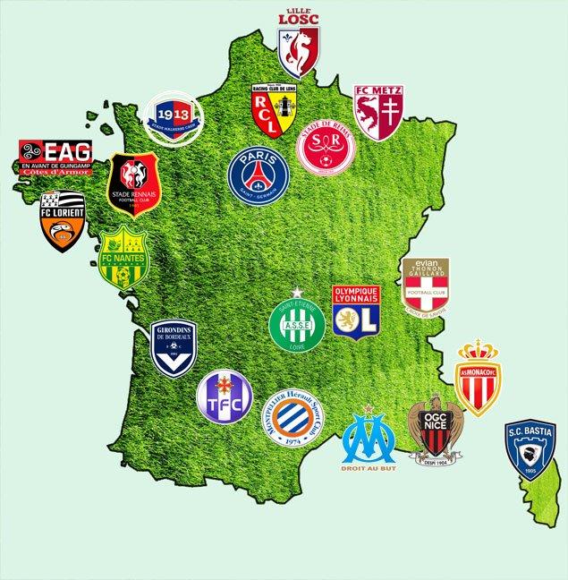 carte de france ligue 1