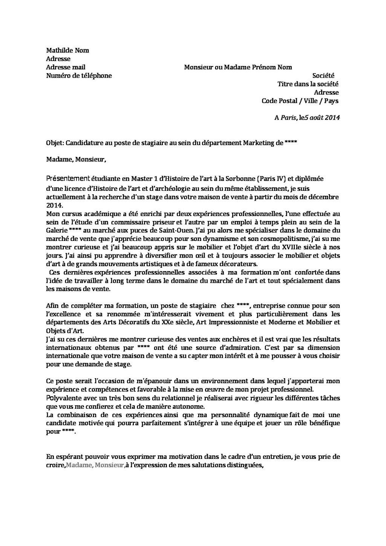 gilles payet analyse la lettre de motivation de mathilde   u00e0 la recherche d u0026 39 un stage en marketing
