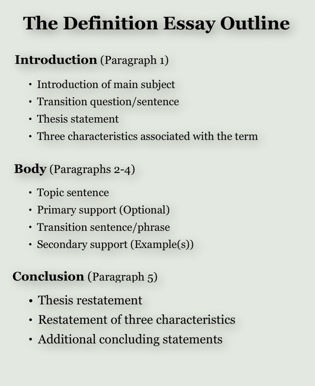 Definition Essay Outline