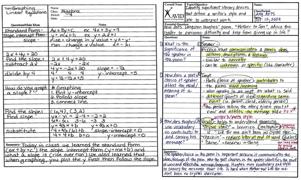 Here are two examples of Cornell Notes. The math example ...