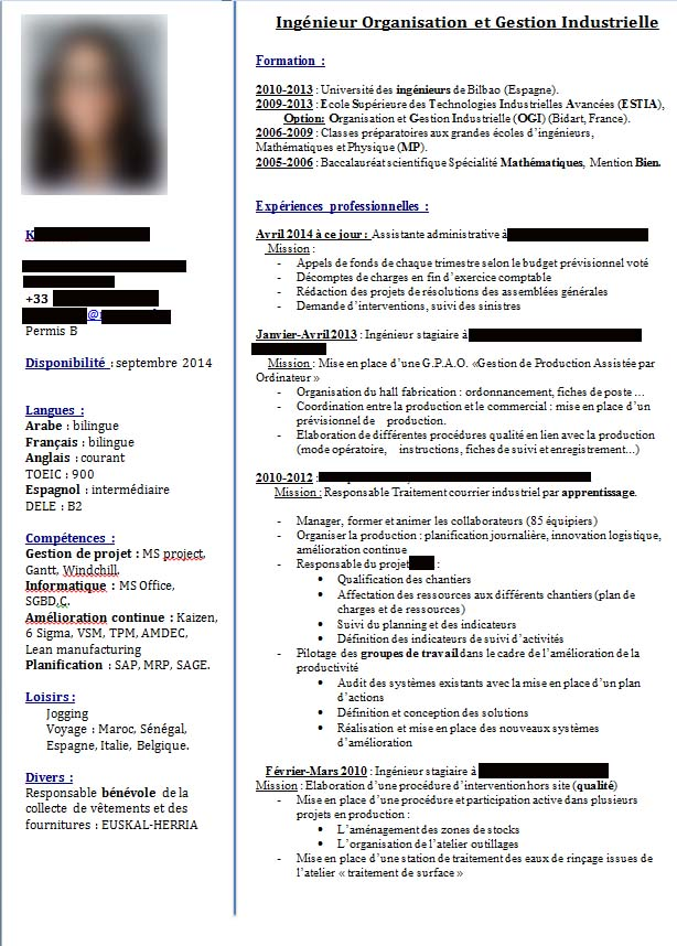 correction de cv   ing u00e9nieur organisation et gestion industrielle junior