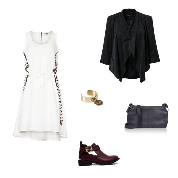 Extreem Witte korte jurk met bordeaux laarsjes en zwarte blazer | Look of  EZ81