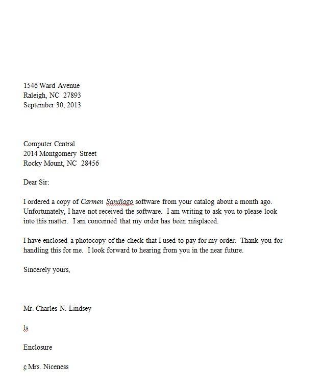 Where To Put Return Address On Letter.Return Address Letter Inside Address Salutation Body