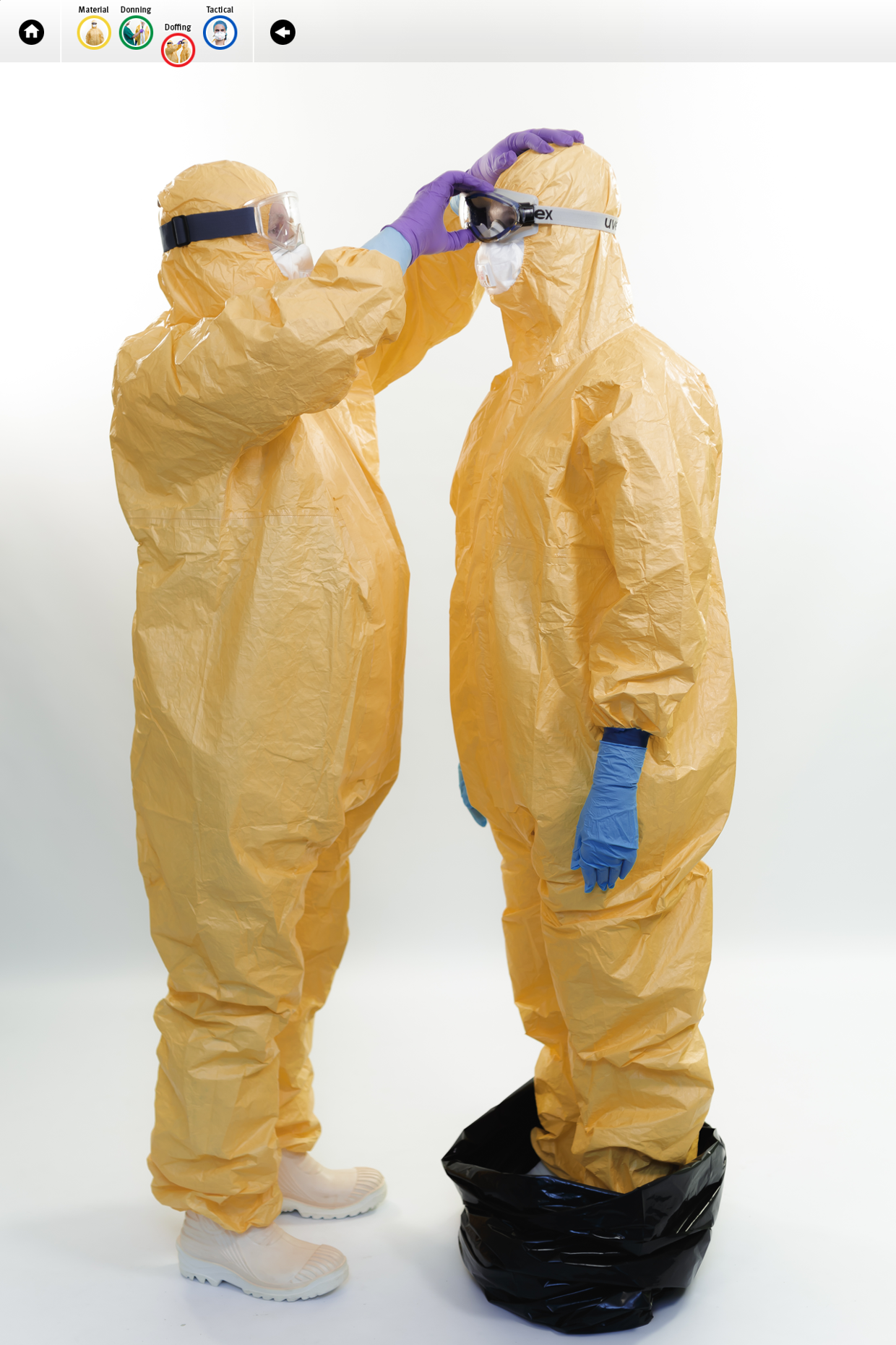 Visuals from ECDC tutorial on the safe use of PPE: DOFFING