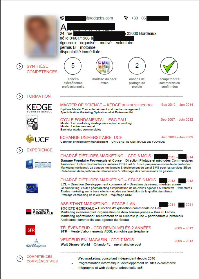 correction de cv  dipl u00f4m u00e9 de kedge business school