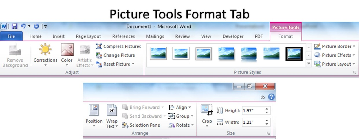 microsoft word 2007 how to put images ontop of eachother