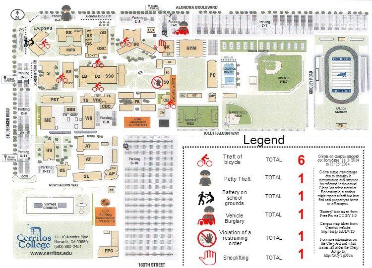 Cerritos Campus Map Campus Crime Map: Nov. 2014 | Talon Marks