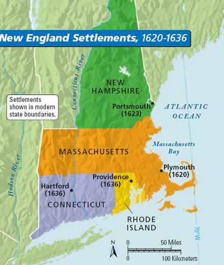 Map Of The 4 New England Colonies.New England Colonies