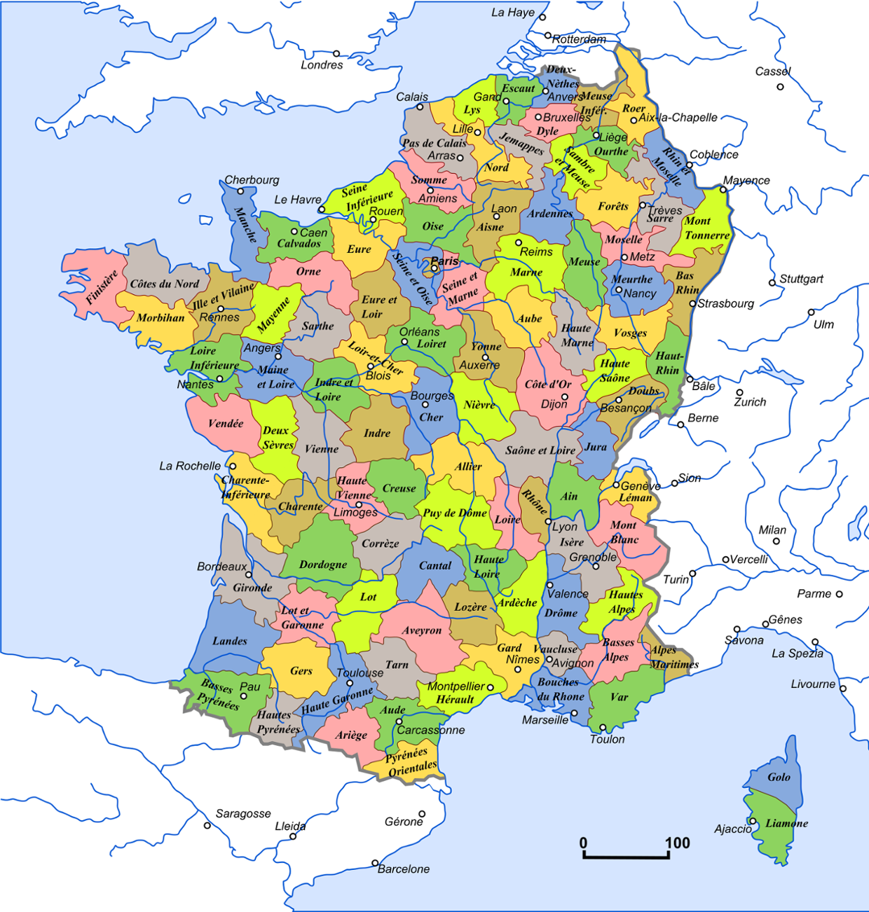 France has the Alps Mountain Range and The Seine River., ...