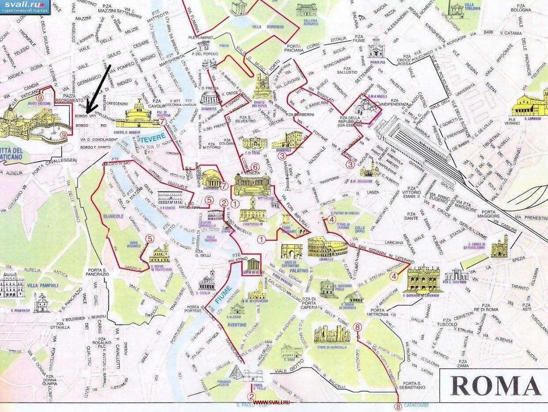 Карта основных достопримечательностей Рима