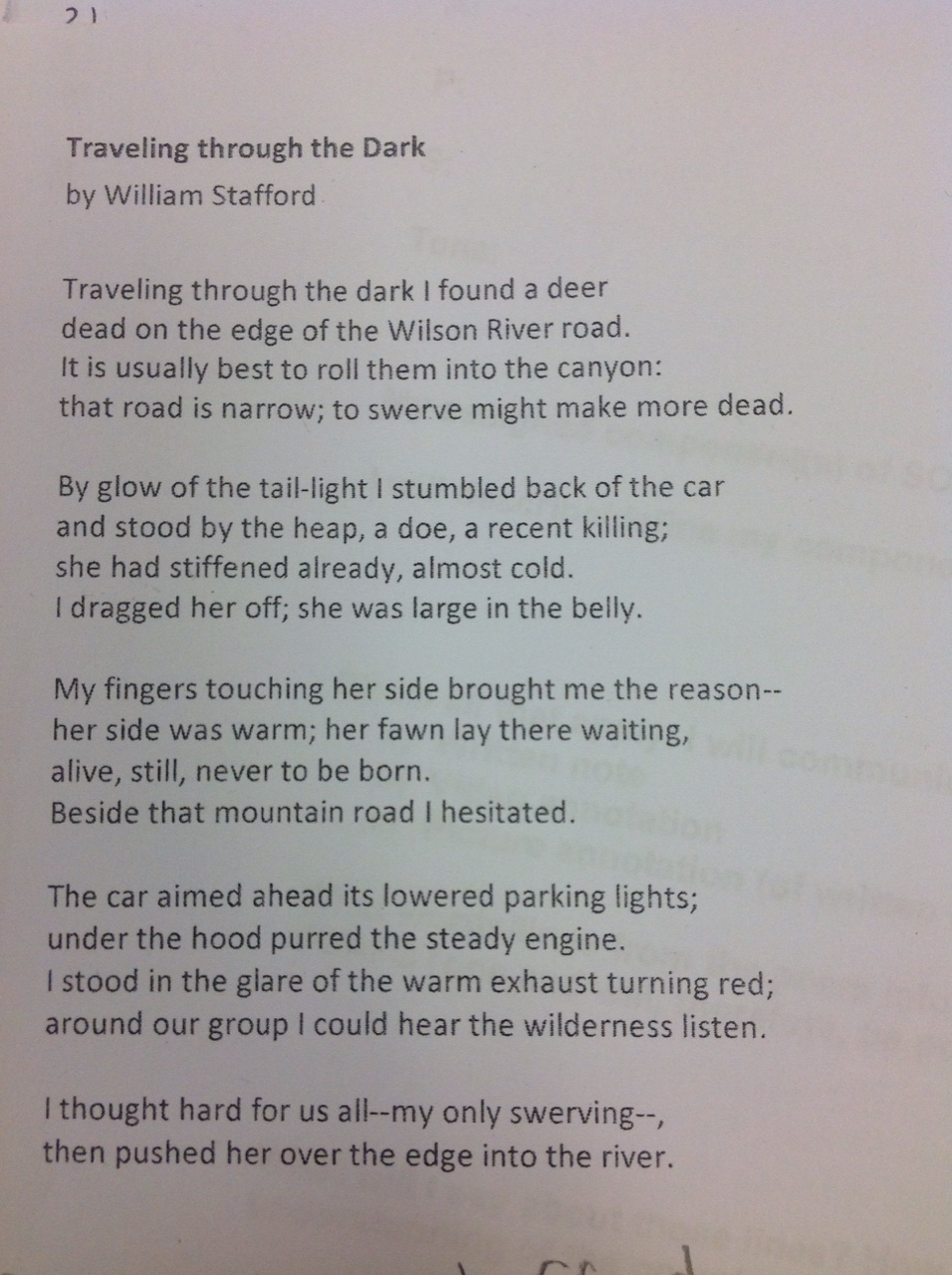 travelling through the dark essay In william stafford's traveling through the dark, he writes about finding a pregnant doe that had been hit by a car on the side of the road.