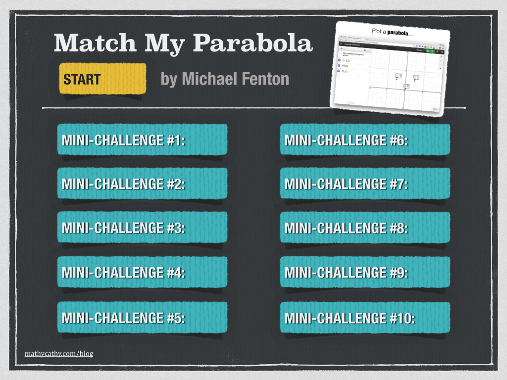 """Match My Parabola"" Desmos Mini-Challenges by Michael Fenton"