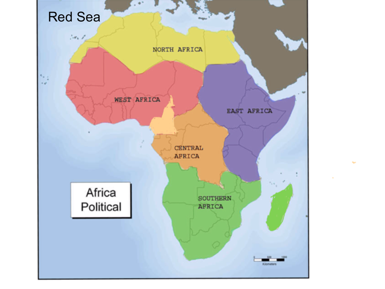 red sea in africa map