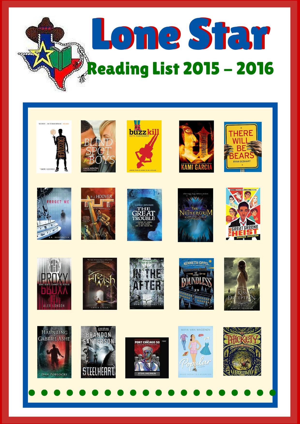 Lone Star Reading List 2015- 2016