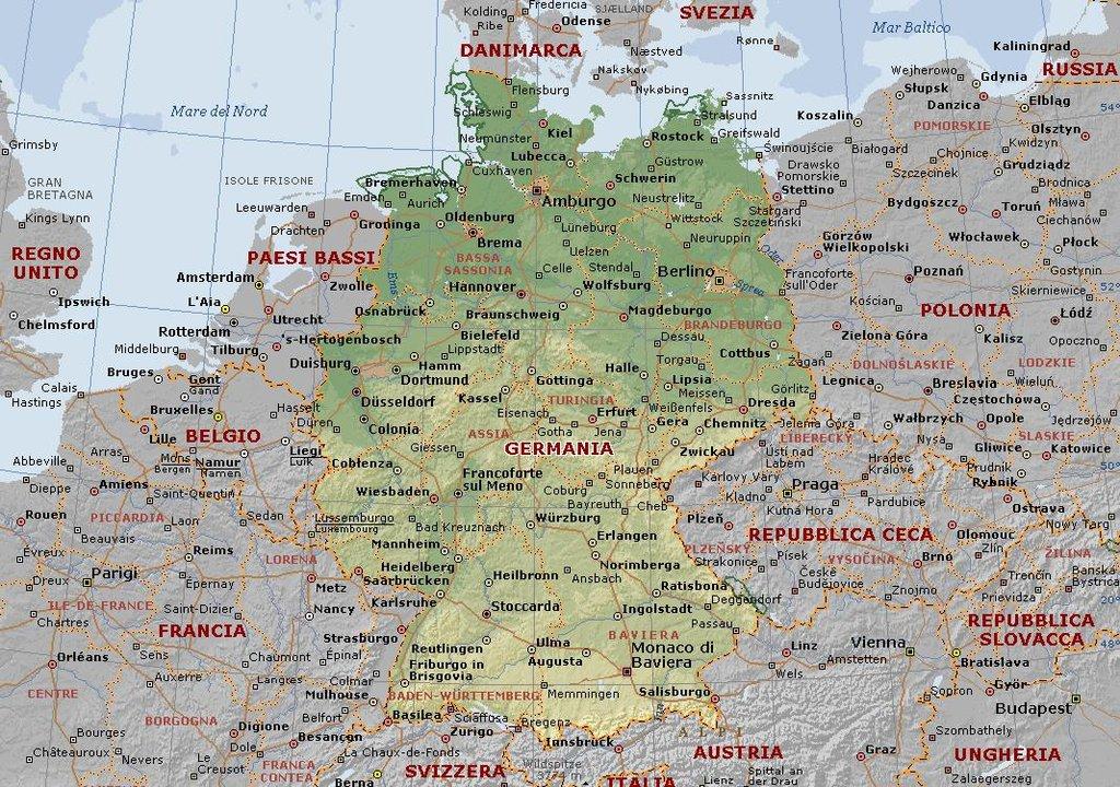 Cartina Germania Stoccarda.Amburgo Berlino Monaco Stoccarda