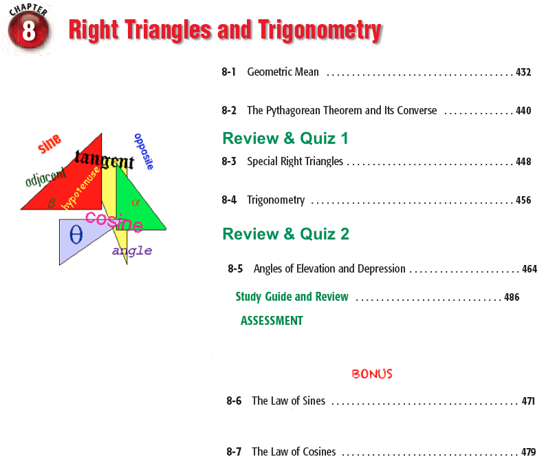 Geometry CP Chapter 8 Right Triangles and Trigonometry