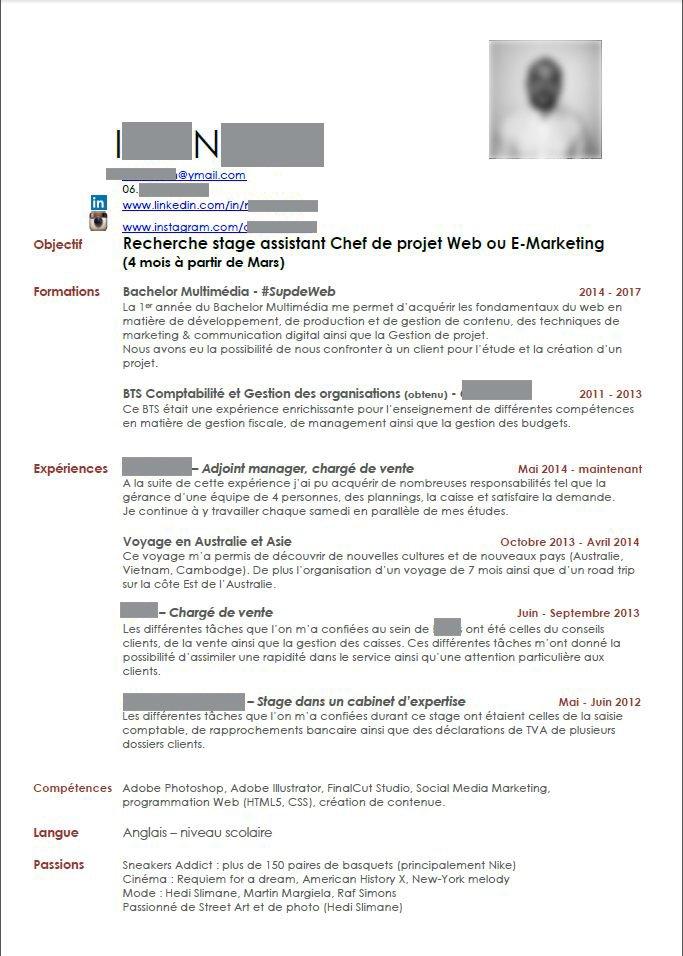 Incroyable Correction de CV : assistant chef de projet web - Le Figaro Etudiant CN-54