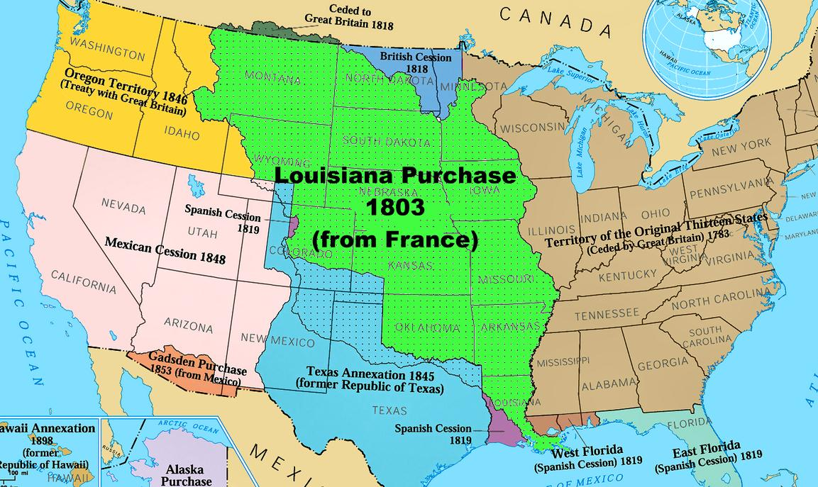 With the Louisiana Purchase in 1803 the United States pu