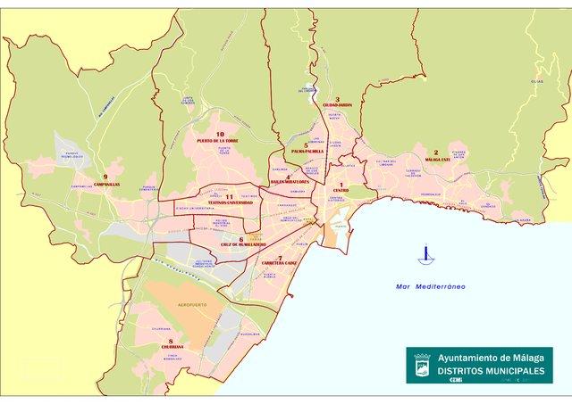 Mapa De Malaga Capital Por Barrios.El Estado De Los Once Distritos La Opinion De Malaga