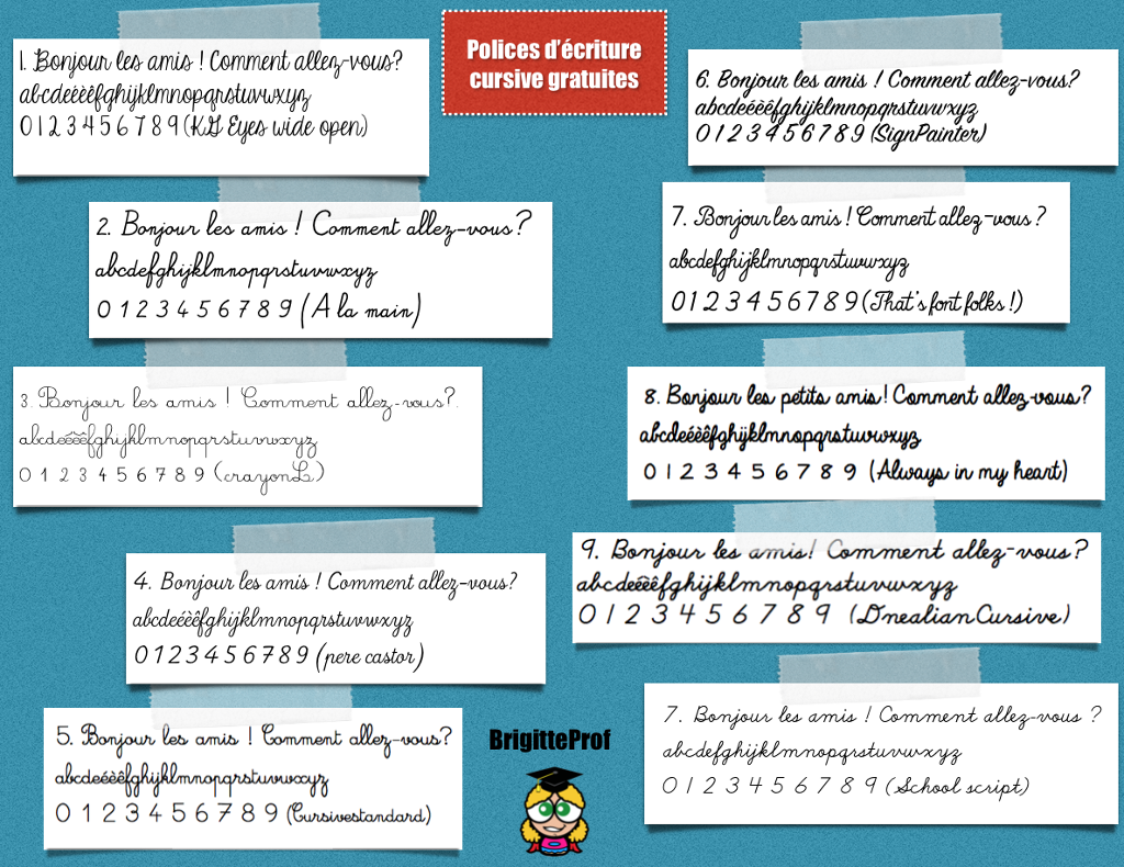 10 polices d u0026 39  u00e9criture cursive