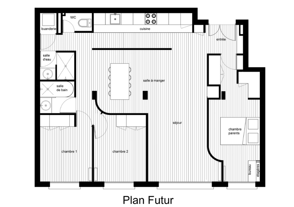 plan appartement 75m2 3 chambres