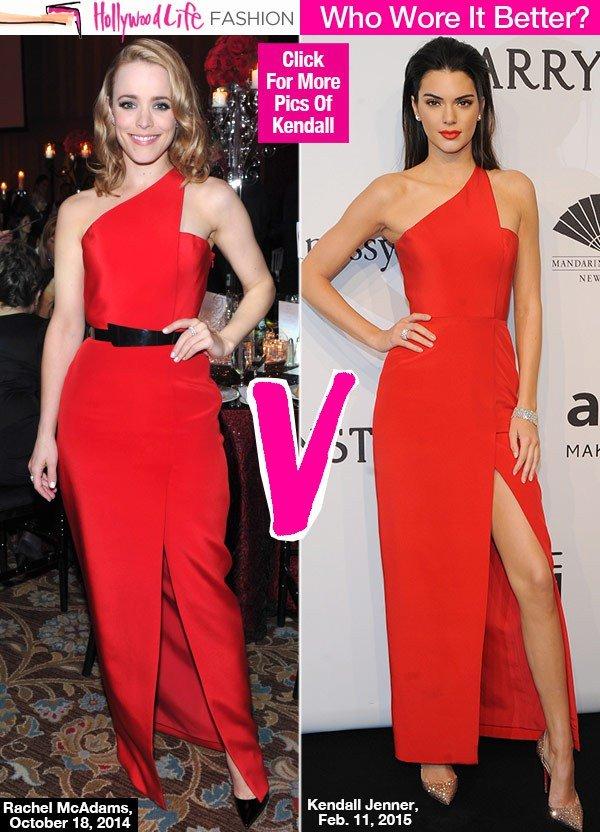 Kendall Jenner V Rachel Mcadams Same Dress Showdown In Red Hot Number Hollywood Life