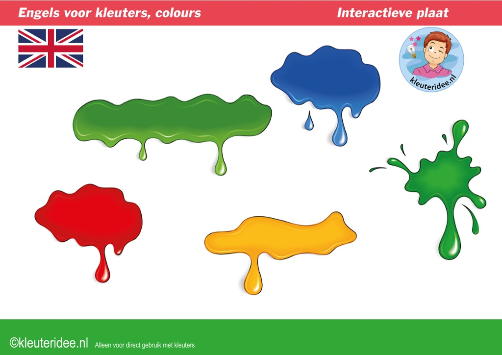 Engels voor kleuters, kleuren,  Kindergarten interactive English lessons, games and songs about colors for IBW en digiboard, kleuteridee.nl