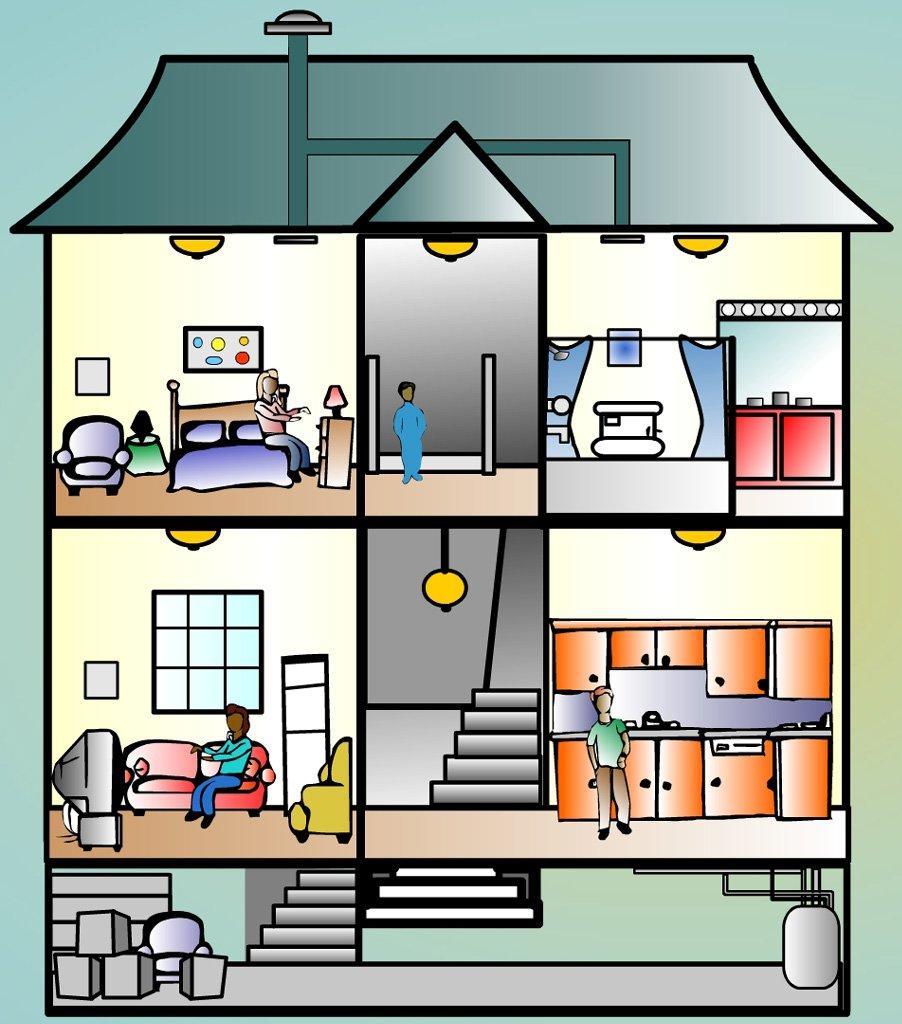 lexique les pi ces de la maison thinglink. Black Bedroom Furniture Sets. Home Design Ideas