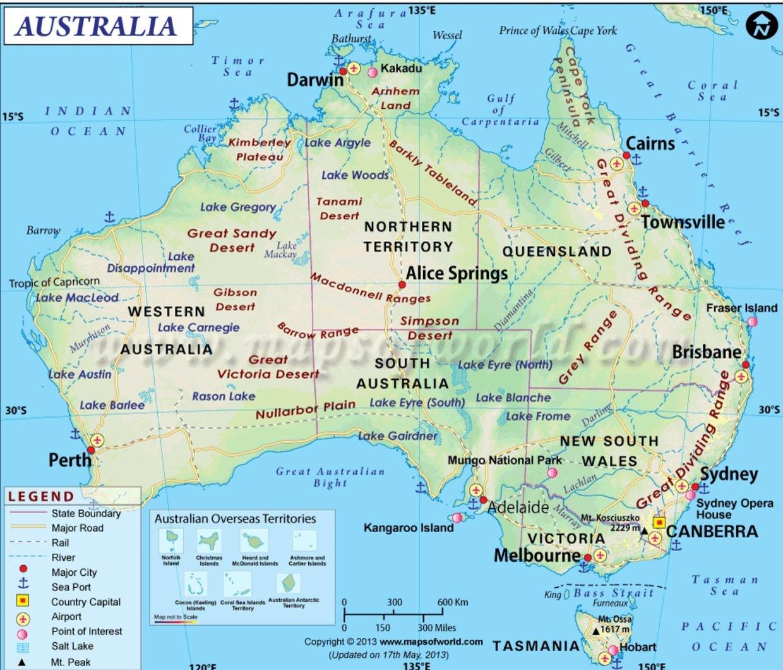 Austraila\'s physical map