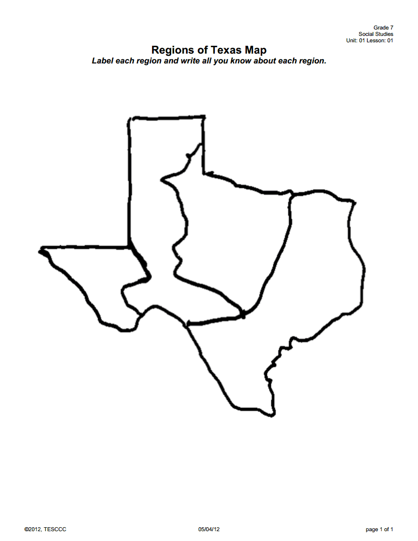 Map Of Texas For 4th Grade.4 Regions Of Texas Map Business Ideas 2013