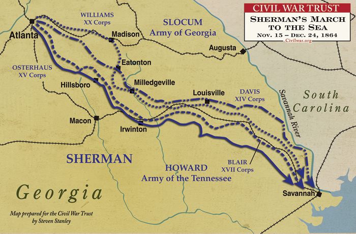 sherman s march to the sea Southern storm: sherman's march to the sea [noah andre trudeau] on amazoncom free shipping on qualifying offers award-winning civil war historian noah andre trudeau has written a gripping, definitive account that will stand as the last word on general william tecumseh sherman's epic march—a targeted strategy aimed to break not only the confederate army but an entire society as well.