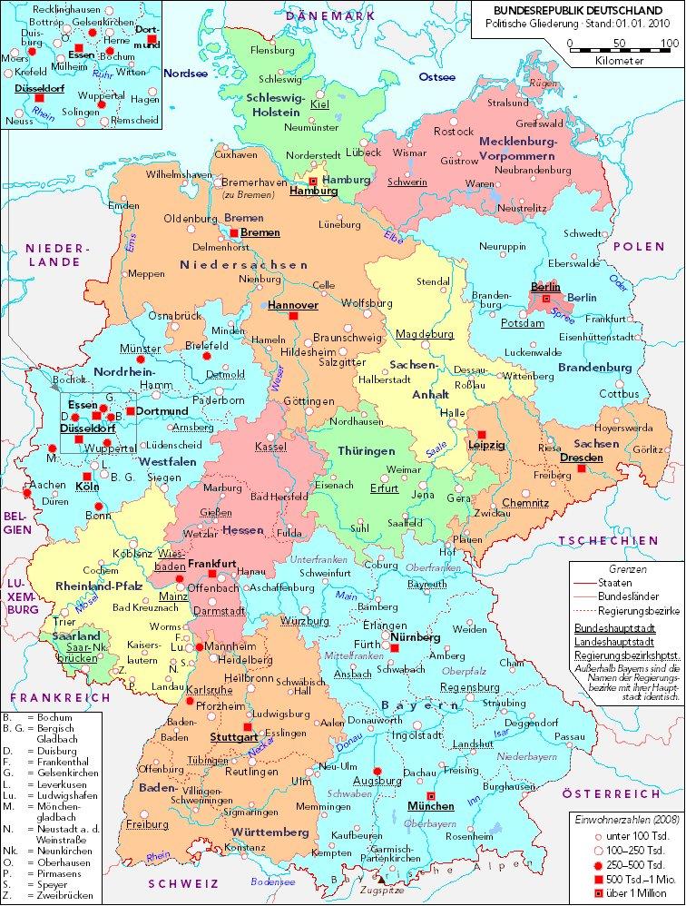 Mapa Politico De Alemania Actual.Mapa Politico De Alemania Actual