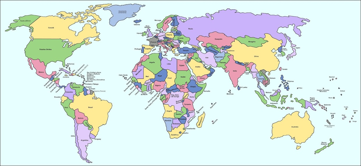 Mapa mundial continentes y paises importantes  ThingLink