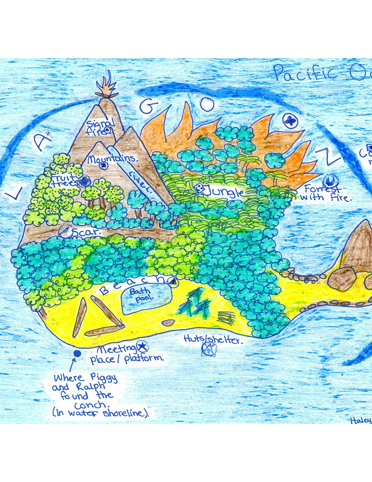 The Lord Of the Flies Island Map.   ThingLink