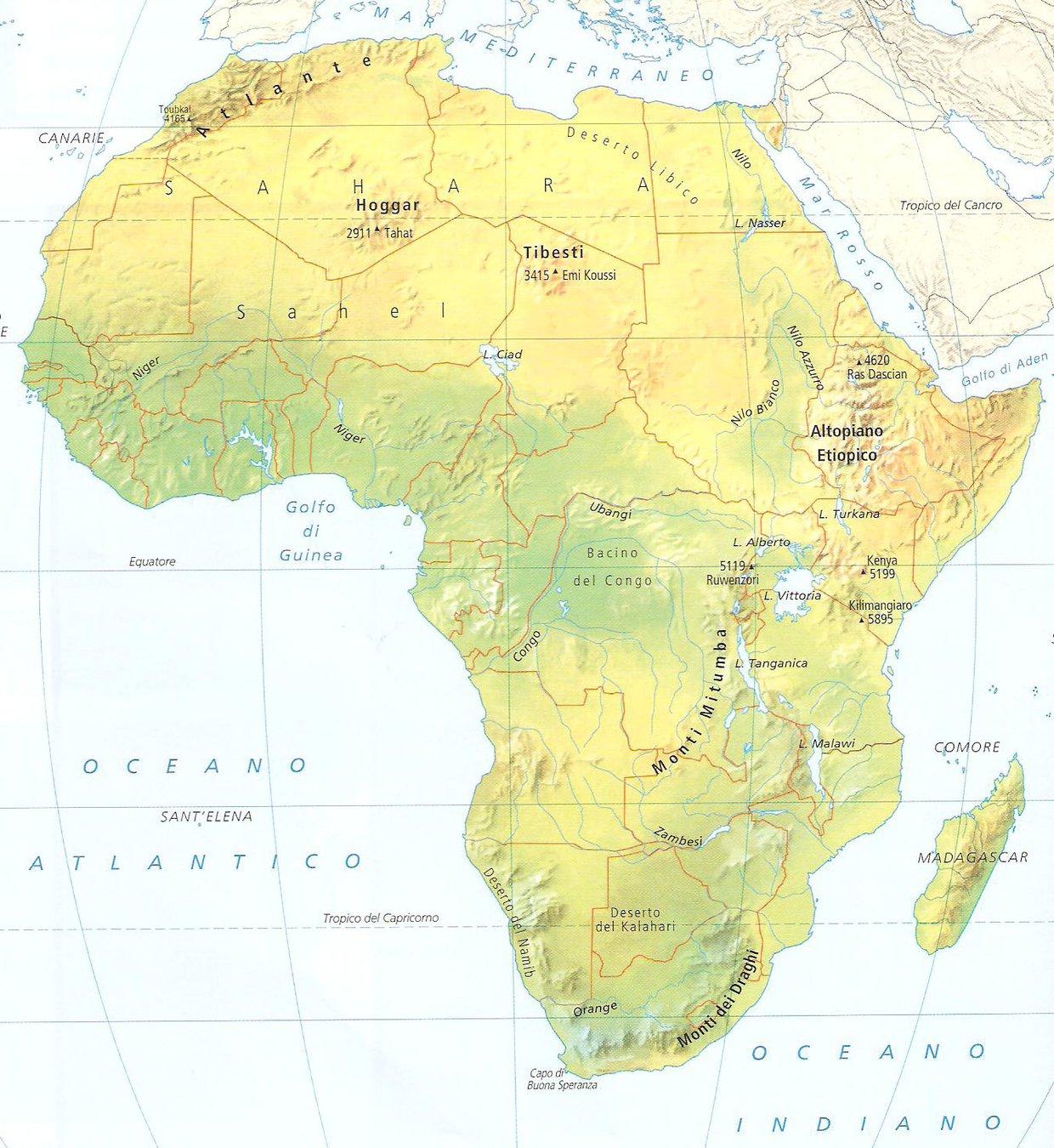 Cartina Africa Muta Fisica.Africa