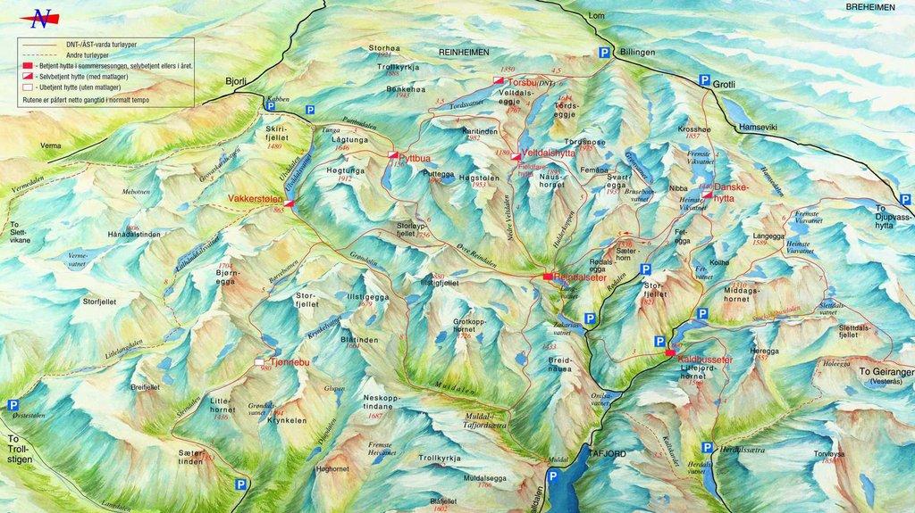 tafjordfjella kart Her har du alle hyttene i Tafjordfjella   smp.no/pluss  tafjordfjella kart