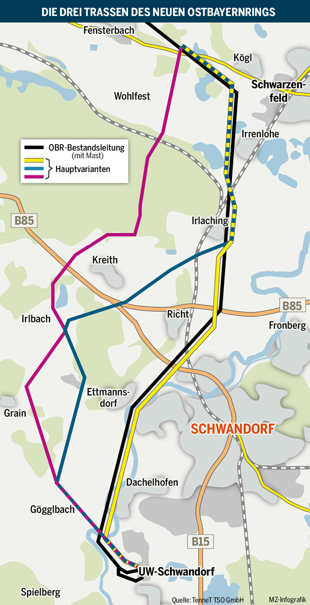 Stromtrasse Oberpfalz Karte