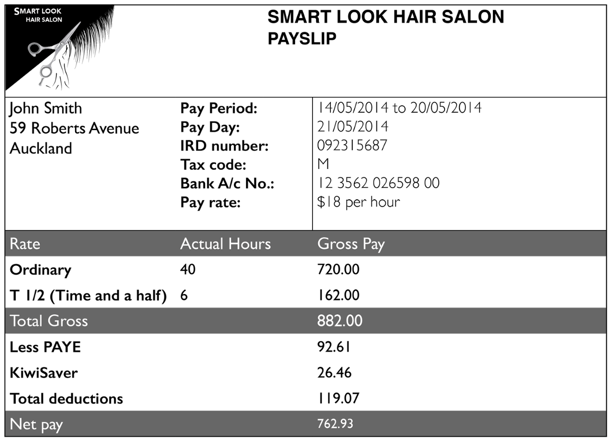 PAYSLIP FOR A WAGE EARNER