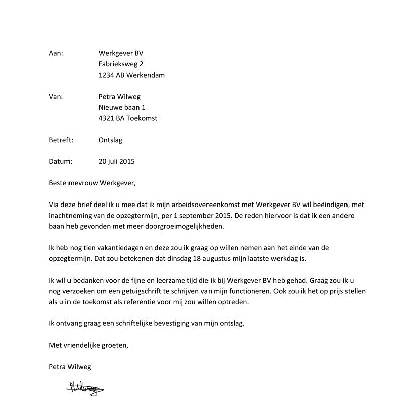 voorbeeld korte ontslagbrief Voorbeeld Korte Ontslagbrief | hetmakershuis