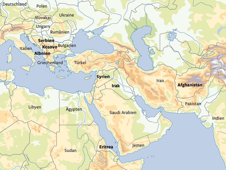 Die Herkunftsländer der Flüchtlinge