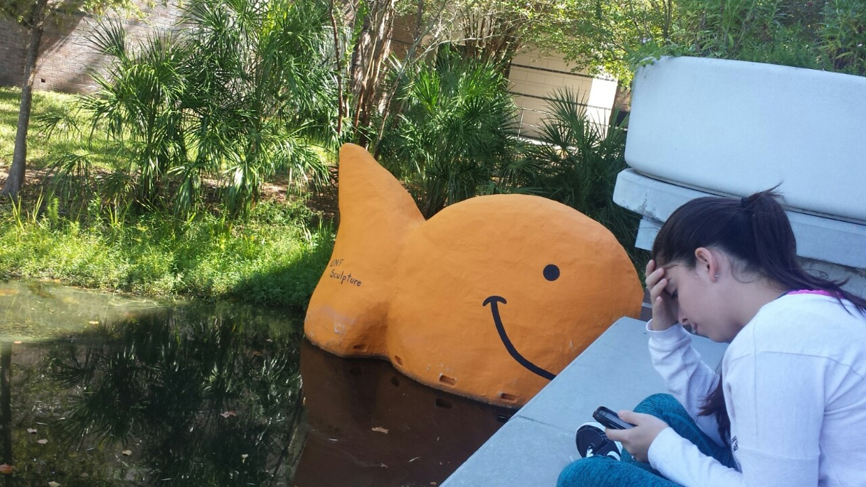 Giant Gold Fish Snack Outside Of The Unf Carpenter Library