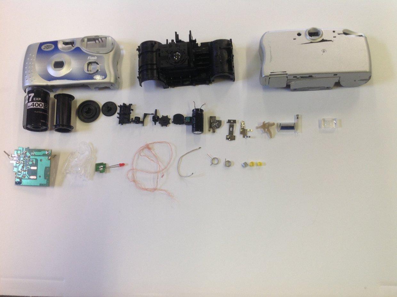 Disposable camera deconstruction