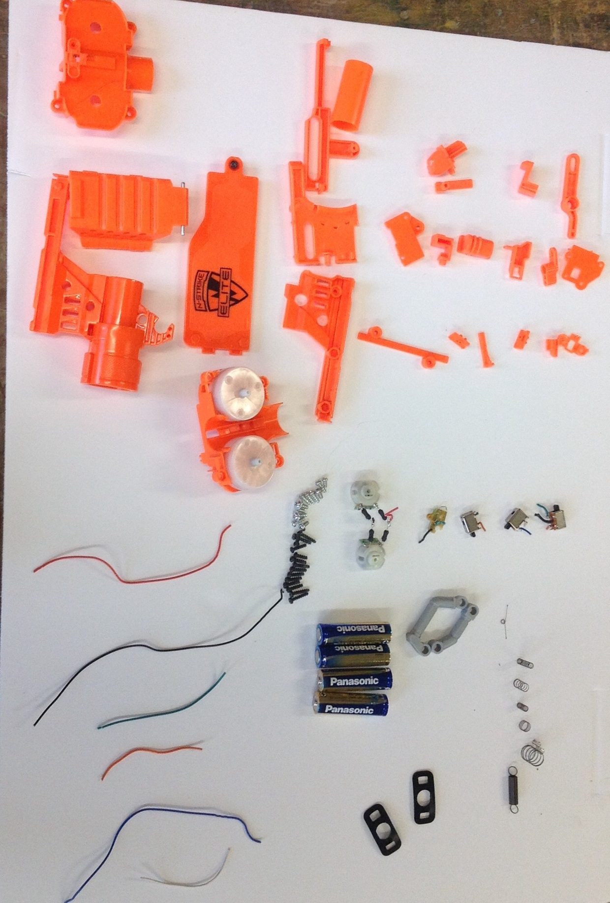 Nerf gun disassembled