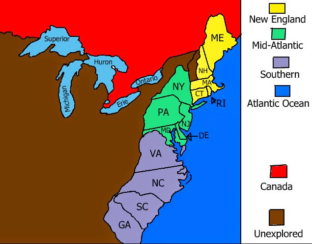 Map Of The 4 New England Colonies.The New England Colonies Had Very Long Cold Winters That